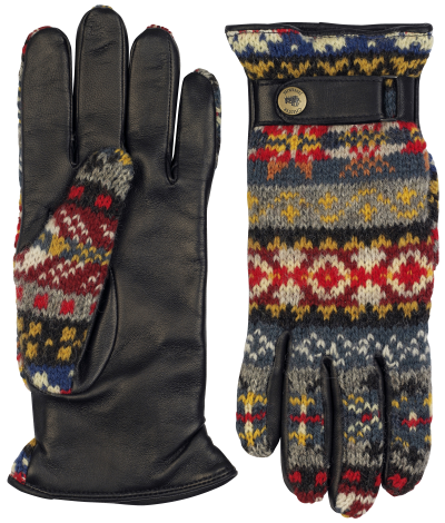 Fairisle wool leather gloves