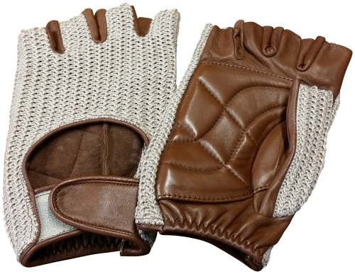 Cycling Mitt - Leather/Crochet