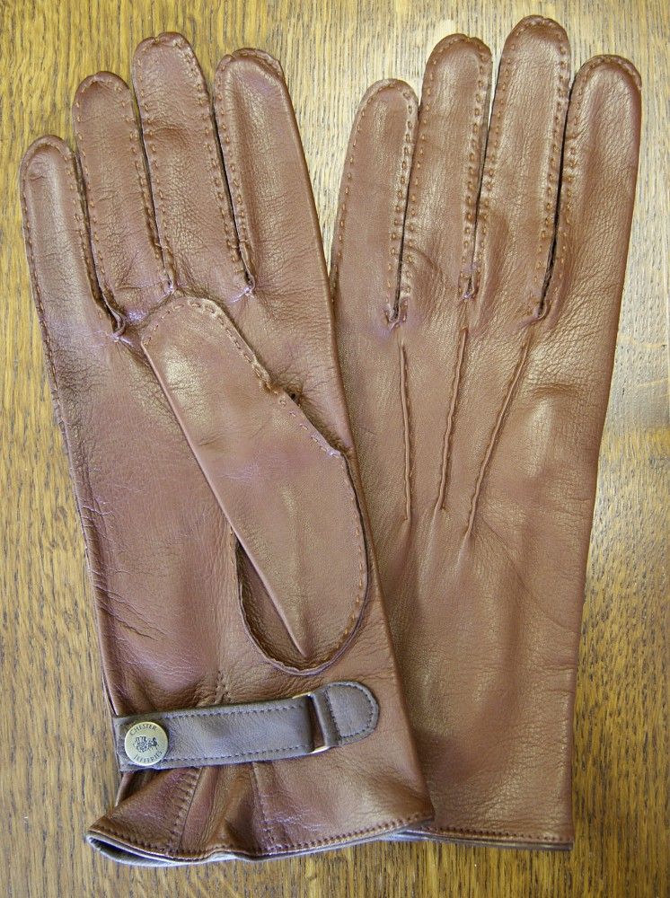 Tan hand-sewn gauntlet - size 9