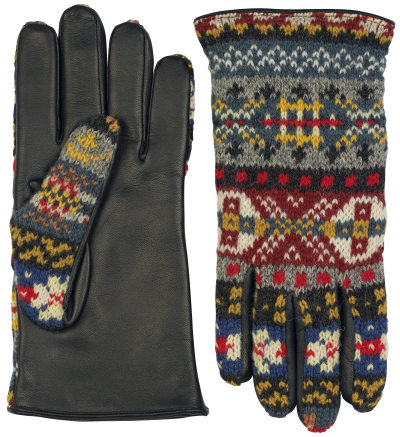Fairisle Wool leather glove